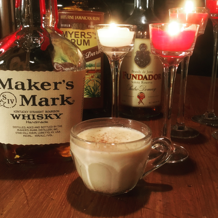 Eggnog with bourbon, rum and brandy